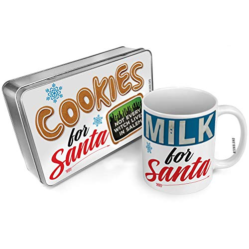 NEONBLOND Cookies and Milk for Santa Set Not Every Witch Lives in Salem Halloween Green Slime Christmas Mug Plate Box -