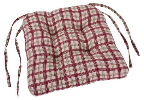Ellis Curtain Bristol Collection Plaid Cushioned Chair Pad, Red