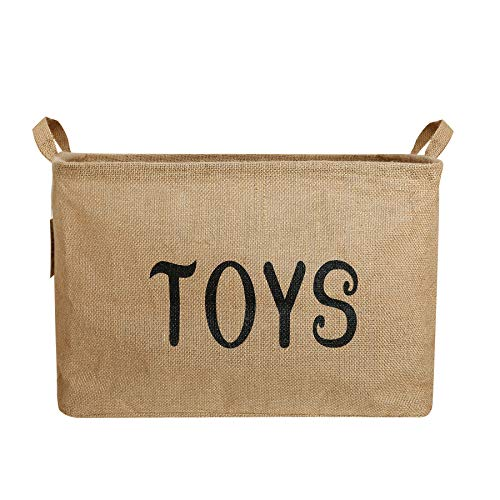 Toy Storage Basket, Zonyon 17'' Jumbo Large Collapsible Foldable Storage Container,Baby Bin,Hamper Organizer with Handles for Boys,Girls,Kids,Toys,Office,Bedroom,Closet,Gift,Burlap (Kids Toy Containers)
