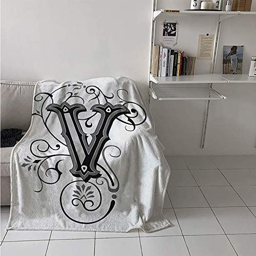 Maisi Custom Design Cozy Flannel Blanket, Gothic Halloween Style Uppercase V with Curved Lines Ivy Stripes Calligraphy, Oversized Travel Throw Cover Blanket 70x60 Inch Black Grey White]()