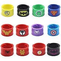 Superhero Slap Bracelet,Boys & Girls Birthday Party Favors and Party Supplies, Superhero Slap Bracelet for Kids School Classroom Rewards, Absolutely Favorite Novelty Toy (12 pcs)-USA WOLF