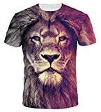 AIEOE T Shirts Colorful 3D Printed Short Sleeve T-Shirt Fashion Couple Tees Gradient Lion 3XL
