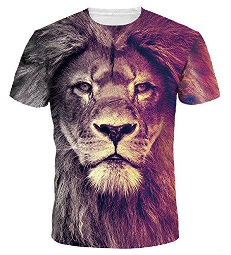 AIEOE T Shirts Colorful 3D Printed Short Sleeve T-Shirt Fashion Couple Tees Gradient Lion 3XL by AIEOE