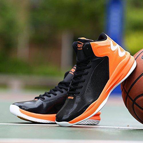 GOMNEAR Männer Leichte Basketballschuhe Outdoor Performance Breathable Sport Turnschuhe Schwarz Orange