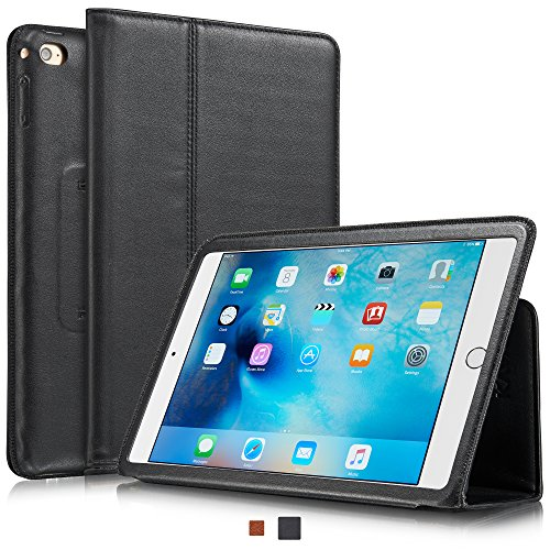 (KAVAJ iPad Mini 4 Leather case Cover Berlin Black - Genuine Leather with Stand-up Feature. Thin Smart Cover as Premium Accessory for The Original Apple iPad Mini 4 )