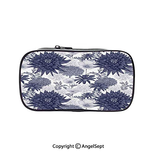 Pen Case Office College School Large Storage,Dotted Digital Paint of Dahlias Botanical Curved Rolled Wild Ray Blunts Blue White 5.1inches,Box Organizer New Arrival