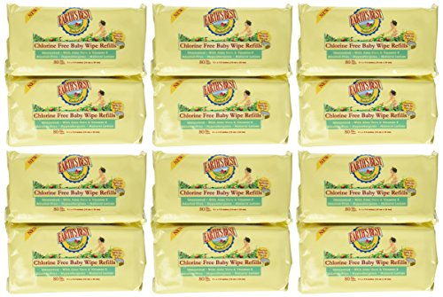 Earth's Best TenderCare Chlorine Free Baby Wipes Refills, 80-Count Packages (Pack of 12)(960 Wipes) by Earth's Best