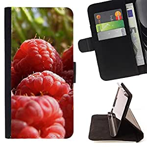 DEVIL CASE - FOR LG OPTIMUS L90 - Fruit Macro Raspberry Close - Style PU Leather Case Wallet Flip Stand Flap Closure Cover