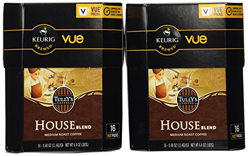 32 Count - Tully's House Blend Coffee Vue Cup For Keurig Vue Brewers