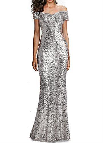 bd89cc0e7947 Faironline Women's Off Shoulder Long Prom Dresses Sequins Formal ...