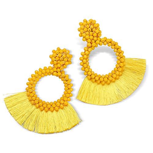 - Fifata Beaded Hoop Earrings Bohemian Handmade Fringe Dangle Drop Statement Earrings for Women (Bead tassel- yellow)