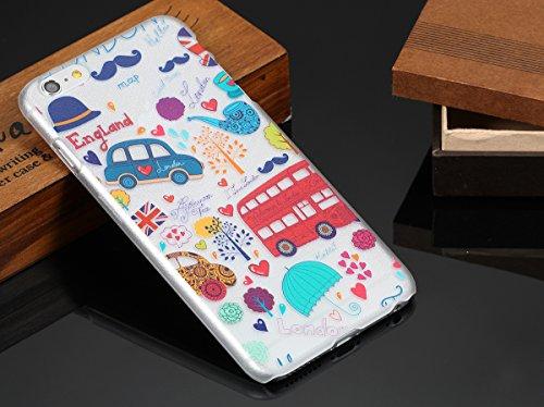 "JewelryWe ""I love London!"" London Straße Bus Bäume Blumen Herzen Harte Handy Case Schutzhülle Tasche Hülle Rückenschutzhülle für Apple iPhone 6 Plus(5,5""), Mehrfarbig"
