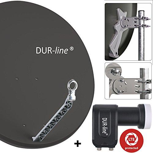 DUR-line 2 Teilnehmer Set - Qualitäts-Alu-Sat-Anlage - Select 85/90cm Spiegel/Schüssel Anthrazit + DUR-line Twin LNB - Satelliten-Komplettanlage - für 2 Receiver/TV [Neuste Technik - DVB-S/S2, Full HD, 4K/UHD, 3D]