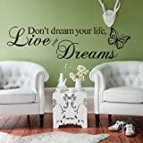 DON'T DREAM YOUR LIFE, LIVE YOUR DREAMS WALL QUOTE DECAL VINYL WORDS STICKER Bild 2