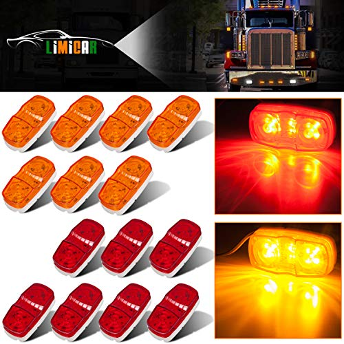 LIMICAR 14PCS Trailer Marker LED 12 Diodes Light Double Bullseye 7 Red 7 Amber Oval Oblong Side Marker Light Lamps