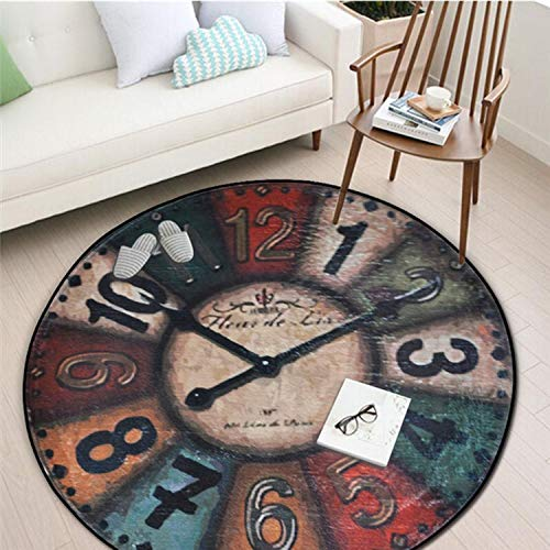 Price comparison product image Vintage Wall Clock Printing Chair Mat Area Rug Yoga Mats Home Decoration Big Round Carpet for Living Room