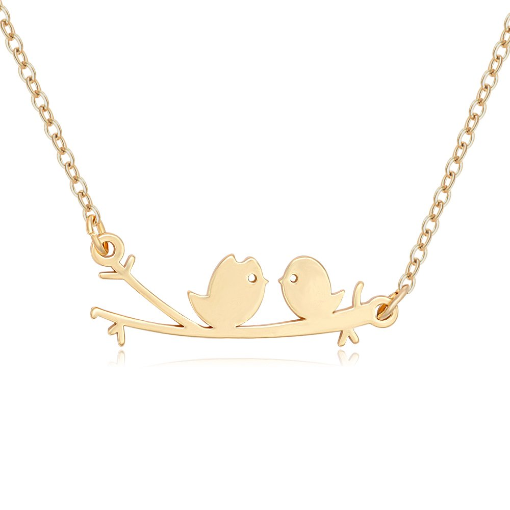 MANZHEN Two Birds Sitting on The Branch Pendant Necklace
