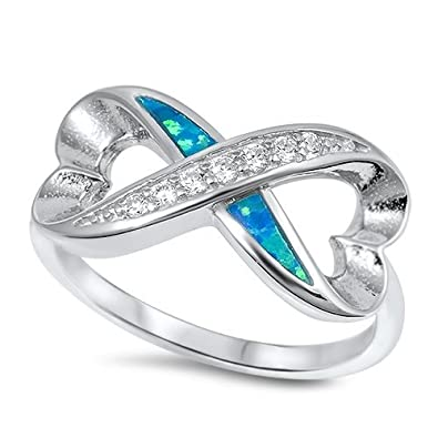 Sterling Silver Created Blue Opal Infinity Heart Ring Size 5-10