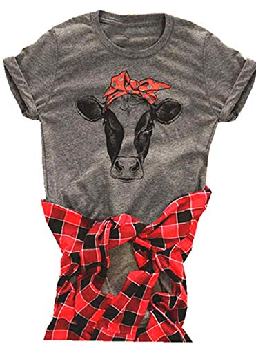 Cow Shirt Women Funny Cute Printed Graphic Tee Summer Loose Casual Short Sleeve Tops Size Small (Grey)