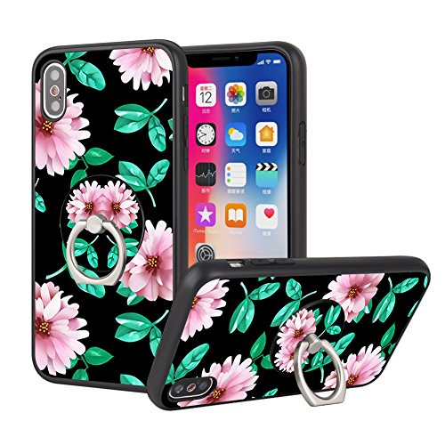 iPhone X Flower Case with Ring Stand, iPhone 10 Protective Case with Phone Ring Holder and Grip Owa