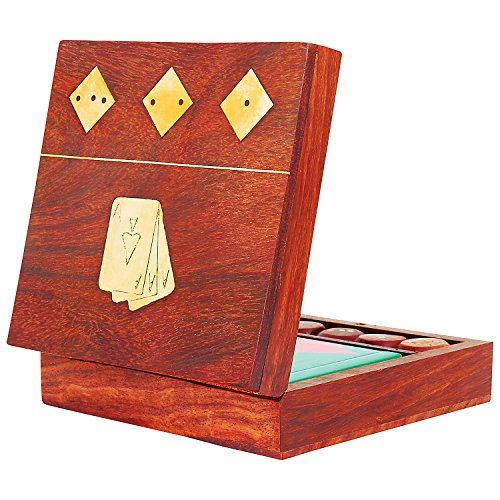Unique Birthday Gift Ideas Handcrafted Classic Wooden Playing Card Holder Deck Box Storage Case Organizer With Dice & Single Pack of Premium Quality 'Ace' Playing Cards Anniversary Gifts For Him Her by The Great Indian Bazaar