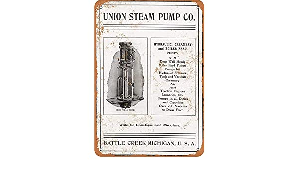 LORENZO Union Steam Pump Vintage Metal Cartel de Chapa Pared ...