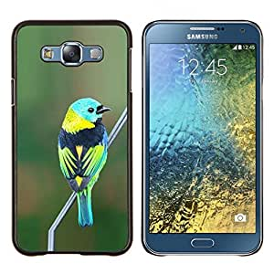 Caucho caso de Shell duro de la cubierta de accesorios de protección BY RAYDREAMMM - Samsung Galaxy E7 E700 - pájaro azul naturaleza verde rama verde azulado