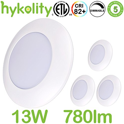 Hykolity 6 Inch Dimmable LED Disk Light Flushmount & Recessed Mount Downlight Kits 13W (100W Equivalent) 780 lumens 4000K Neutral White, Installs into Junction Box Or Recessed Can ETL Listed-Pack (Disk Lighting Kit)
