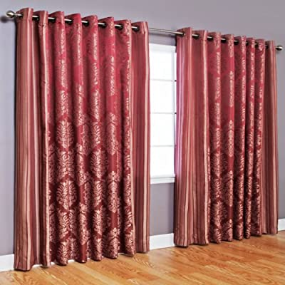 "Best Home Fashion Wide Width Damask Jacquard Curtain - Antique Bronze Grommet Top - Burgundy - 90""W x 84""L - (1 Panel) - Keep your home decor under wraps with these wide width damask jacquard curtain pair. Curtain pair brings style and sophistication to any room Textured design accents any window home décor - living-room-soft-furnishings, living-room, draperies-curtains-shades - 51H6Cp33KeL. SS400  -"