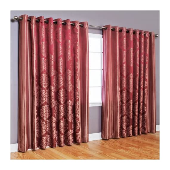 "Best Home Fashion Wide Width Damask Jacquard Curtain - Antique Bronze Grommet Top - Burgundy - 90"" W x 84"" L - (1 Panel) - Keep your home decor under wraps with these wide width damask jacquard curtain pair. Curtain pair brings style and sophistication to any room Textured design accents any window home décor - living-room-soft-furnishings, living-room, draperies-curtains-shades - 51H6Cp33KeL. SS570  -"