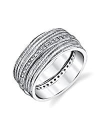 Women's Cubic Zirconia wide Sterling Silver CZ Wedding Band Satin Matte Brushed