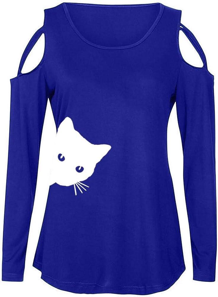 FELZ Camiseta Mujer Manga Larga Chicas Gato Impreso Blusa Suelta Camiseta Dama Tops Elegantes TúNica Hembra Jersey De Mujer Sudadera Camisa Deportiva BáSica Casual Pullover Tops: Amazon.es: Ropa y accesorios