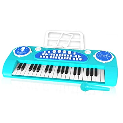 TLMYDD Regalo para bebés de educación temprana, Instrumento Musical, Instrumento Musical, Juguete, micrófono y micrófono. Piano para niños Piano (Color : Blue): Hogar