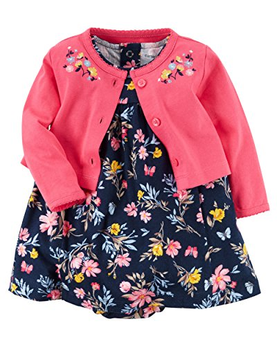 Carter's Baby Girls Dress Set, Pink/Navy Floral, 3M
