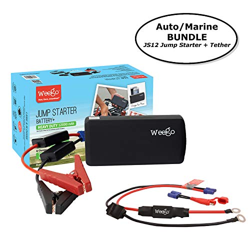 Weego JS12 Jump Starter AUTO/MARINE BUNDLE includes Jump Starter JS12 1400 Peak and 400 Cranking Amps Plus Weego Jump and Charge 2-in-1 Auto/Marine Tether/Harness by Weego