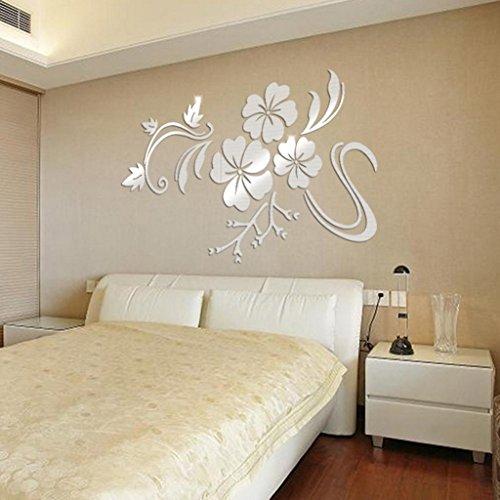 3D Wall Sticker,Bokeley 3D Acrylic Mirrow Flower Art Design Stickers Wallpaper Crafts Flowers Wall Decor Art Decorations (Silver)