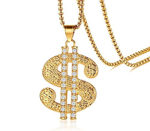 Money Sign Charm - Gold Plated Stainless Steel Rhinestone Crystal Money Symbol Pendant Dollar Sign Necklace Jewelry Gift