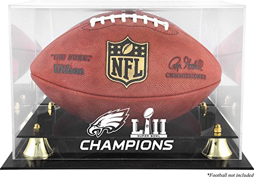 Sports Memorabilia Philadelphia Eagles Super Bowl LII Champions Golden Classic Football Logo Display Case - Football Logo Display Cases
