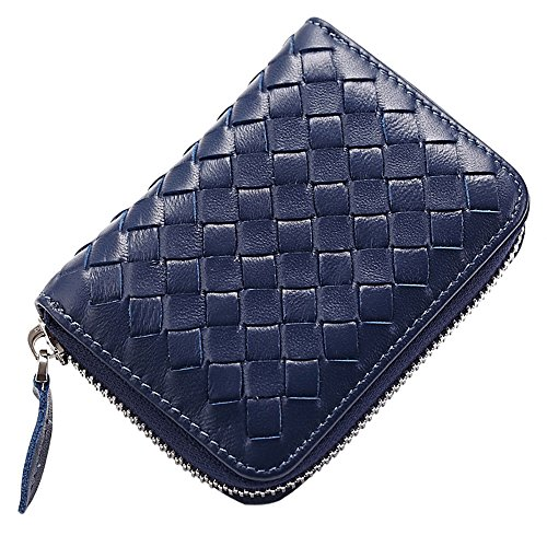 Credit Card Holder Wallet Protector Sleeve Case Organizer Genuine Leather Woven Lambskin Braided Large Capacity by JayTong (Navy Blue) ()