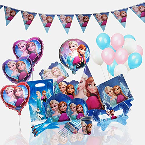(Frozen Birthday Party Supplies for 12 Princesses with 170 Plus Items | Birthday Party Supplies | Frozen Party Supplies | Princess Birthday Party Supplies | Princess Party Decorations | Anna Olaf Elsa)