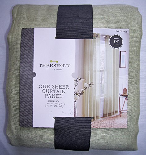 (Threshold, One Sheer Curtain Panel, Green Linen, 54