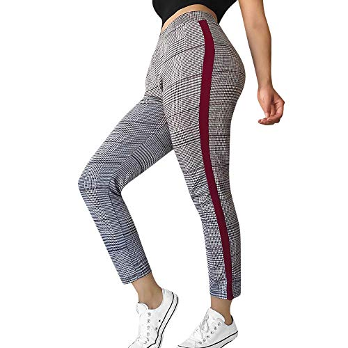 LISHTA Lattice Plaid Pants Women Sports Casual Trousers Elasticity Srtiped Pant