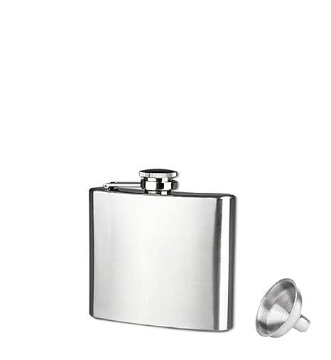 Petaca de acero inoxidable con tapón de rosca Feitong + embudo, 6 tamaños, plata, acero inoxidable, Plateado, 5oz
