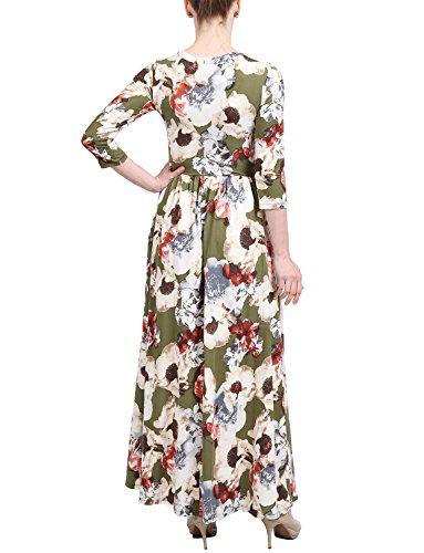 J. J. Lovny Women's Casual 3/4 Sleeve V Neck Printed Maxi Dress W/pockets 2222039 Casual Manches 3/4 Maxi Robe Imprimé Col V Femmes Lovny W / Poches 2222039