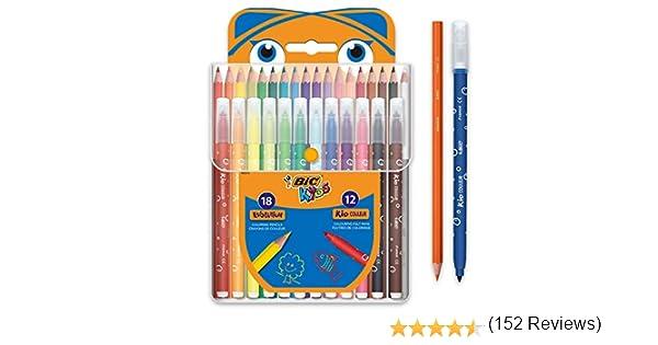 BIC Kids Kit para Colorear - 18 Lápices de colores, 12 rotuladores de colores, Estuche de Plástico de 30: Amazon.es: Oficina y papelería