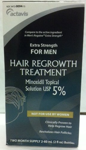 Minoxidil 5% Extra Strength Hair Regrowth Treatment Solution 2 x 60 ml [2 month supply] (Pack of 2)