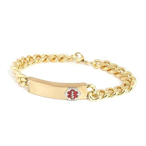 Medical Alert Bracelets >> Amazon Com Speidel Medilog Medical Alert Bracelet In Gold