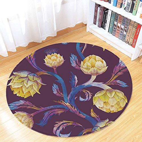 Artichoke Non Slip Round Mat,Art Nouveau Style Arrangement with Vibrant Colored Vegetable Vegan Decorative for Toilet Balcony Corridor,35.43