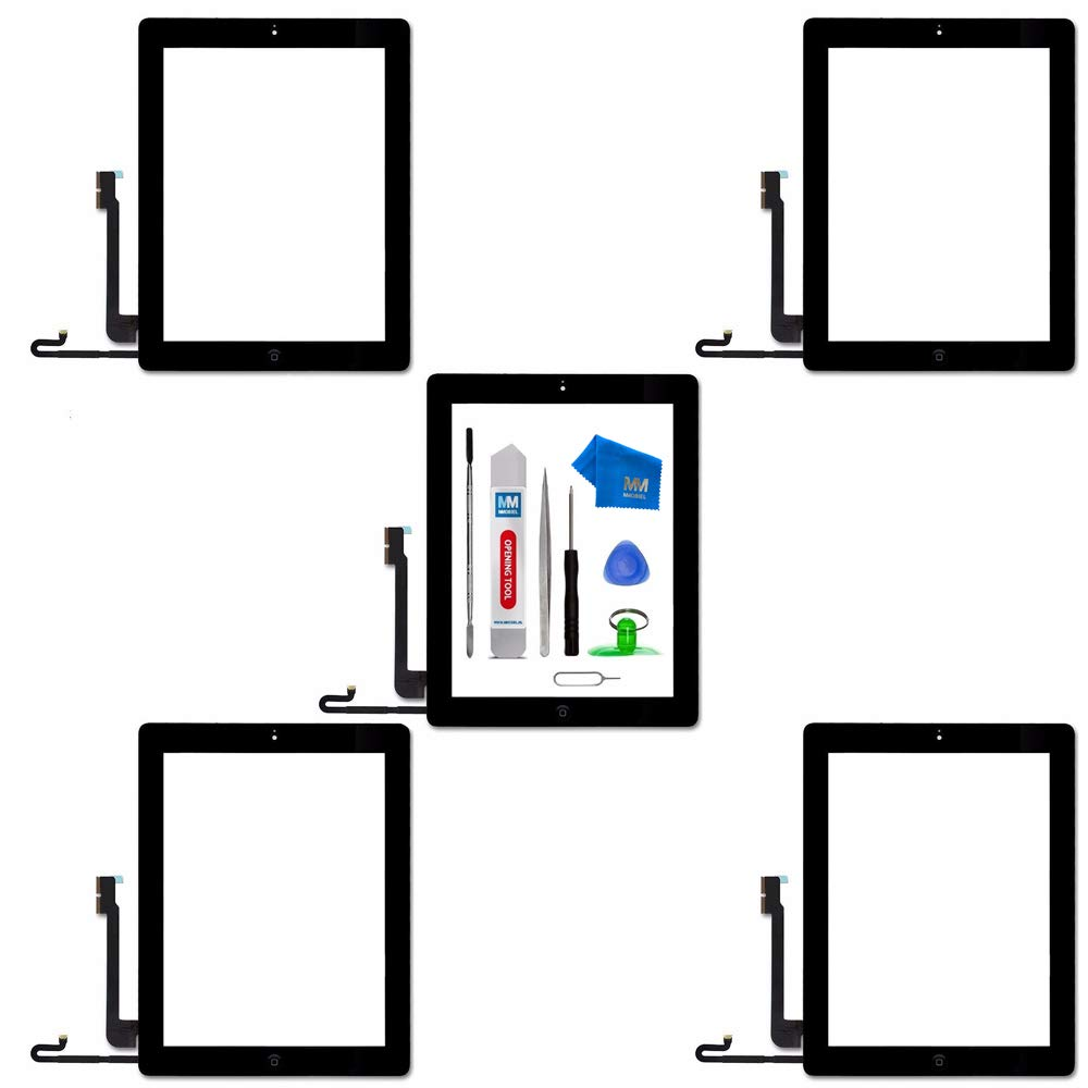 MMOBIEL Pack of 5 Digitizer Repair Kit Compatible with iPad 4 (Black) 9.7 Inch Touchscreen Front Display Incl Tool kit