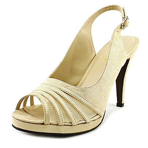 Beacon Womens Sparkle Fabric Open Toe Special Occasion Slingback Sandals Platinum